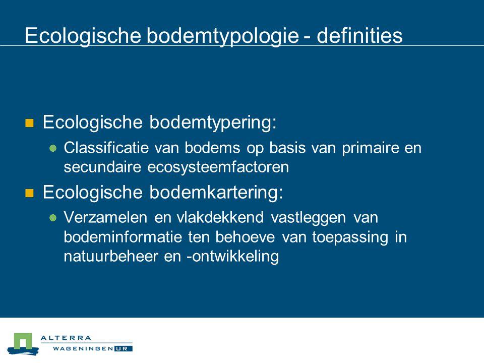 Ecologische bodemtypologie - definities  Ecologische bodemtypering:  Classificatie van bodems op basis van primaire en secundaire ecosysteemfactoren