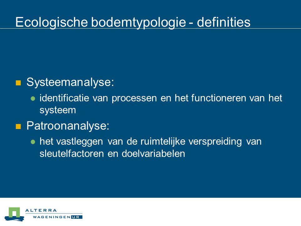 Ecologische bodemtypologie - definities  Systeemanalyse:  identificatie van processen en het functioneren van het systeem  Patroonanalyse:  het va