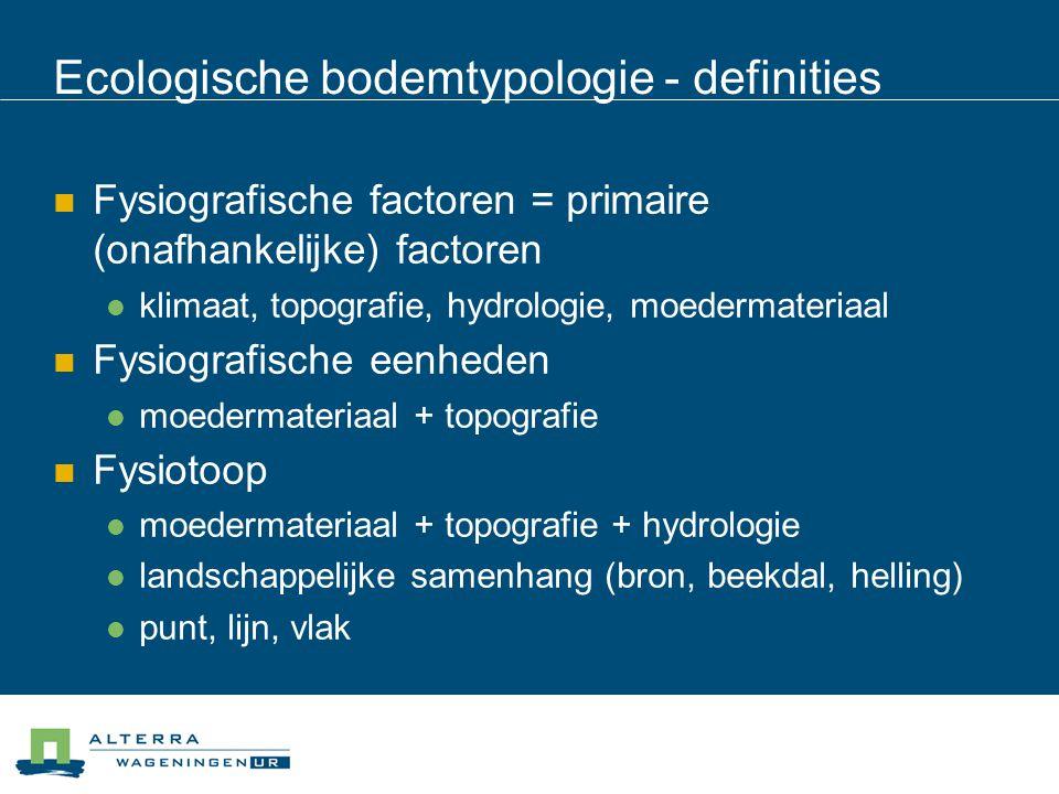 Ecologische bodemtypologie - definities  Fysiografische factoren = primaire (onafhankelijke) factoren  klimaat, topografie, hydrologie, moedermateri