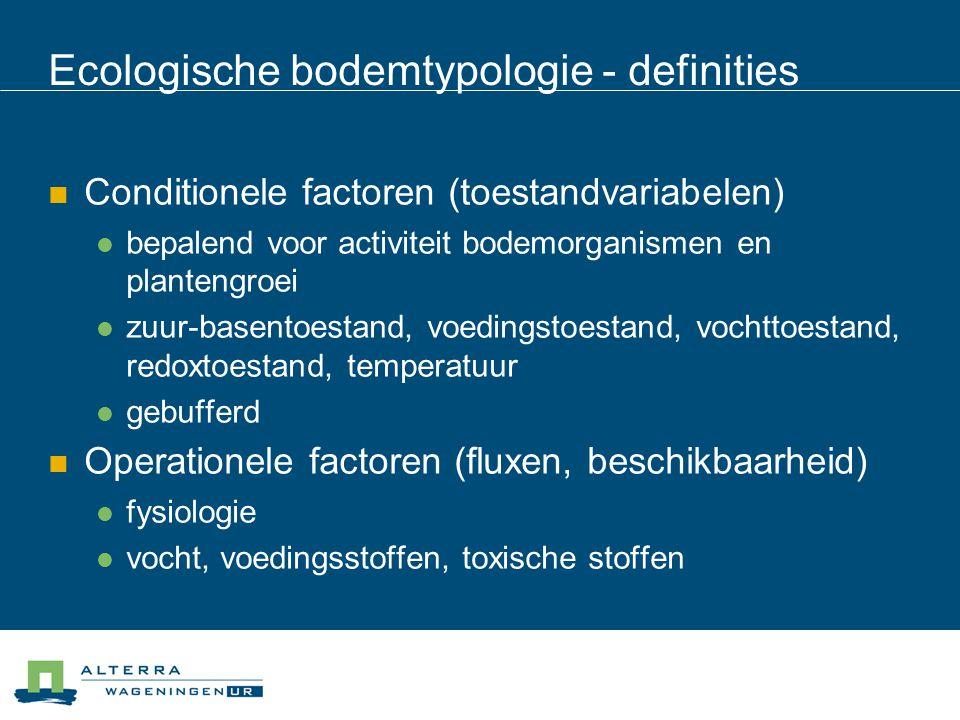 Ecologische bodemtypologie - definities  Conditionele factoren (toestandvariabelen)  bepalend voor activiteit bodemorganismen en plantengroei  zuur