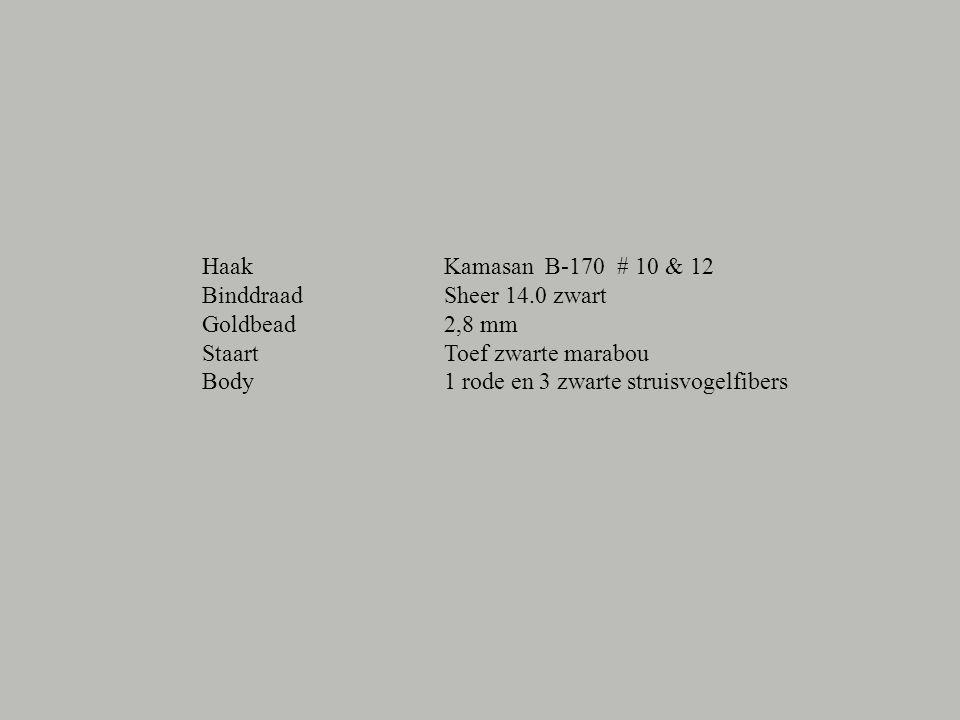 Haak Binddraad Goldbead Staart Body Kamasan B-170 # 10 & 12 Sheer 14.0 zwart 2,8 mm Toef zwarte marabou 1 rode en 3 zwarte struisvogelfibers