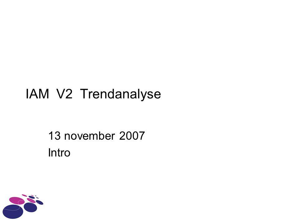 IAM V2 Trendanalyse 13 november 2007 Intro