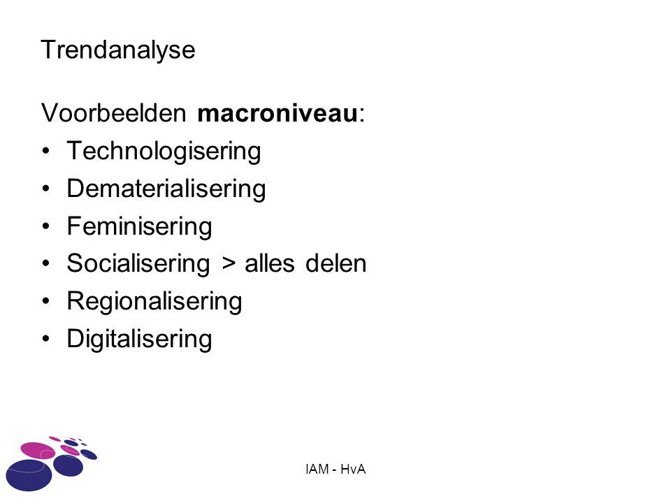 IAM - HvA Trendanalyse Voorbeelden macroniveau: •Technologisering •Dematerialisering •Feminisering •Socialisering > alles delen •Regionalisering •Digitalisering
