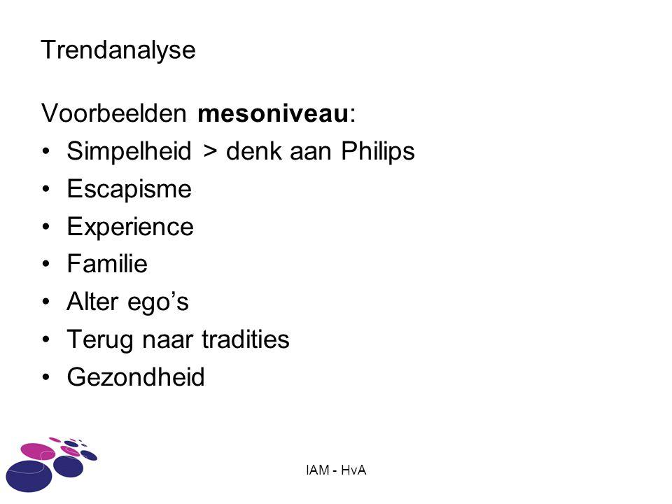IAM - HvA Trendanalyse Voorbeelden mesoniveau: •Simpelheid > denk aan Philips •Escapisme •Experience •Familie •Alter ego's •Terug naar tradities •Gezondheid