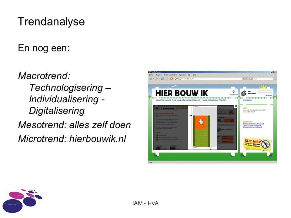 IAM - HvA Trendanalyse En nog een: Macrotrend: Technologisering – Individualisering - Digitalisering Mesotrend: alles zelf doen Microtrend: hierbouwik.nl