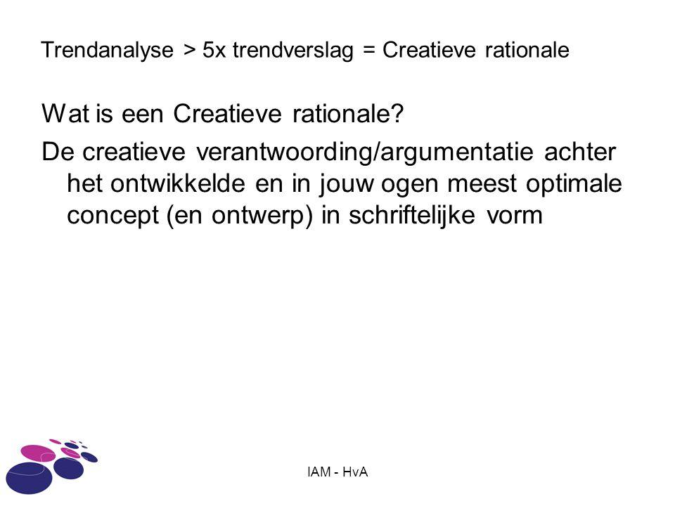 IAM - HvA Trendanalyse > 5x trendverslag = Creatieve rationale Wat is een Creatieve rationale.