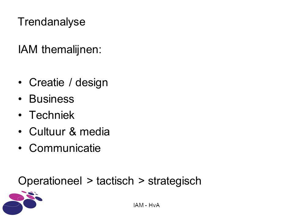 IAM - HvA Trendanalyse IAM themalijnen: •Creatie / design •Business •Techniek •Cultuur & media •Communicatie Operationeel > tactisch > strategisch