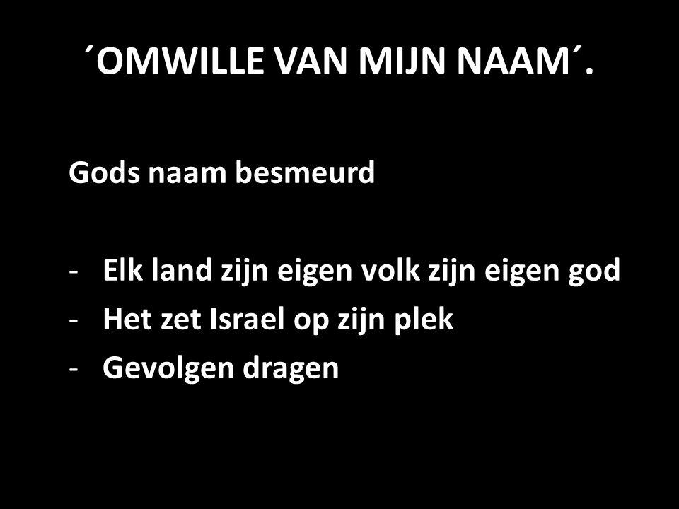 ´OMWILLE VAN MIJN NAAM´. Gods naam besmeurd -Elk land zijn eigen volk zijn eigen god -Het zet Israel op zijn plek -Gevolgen dragen