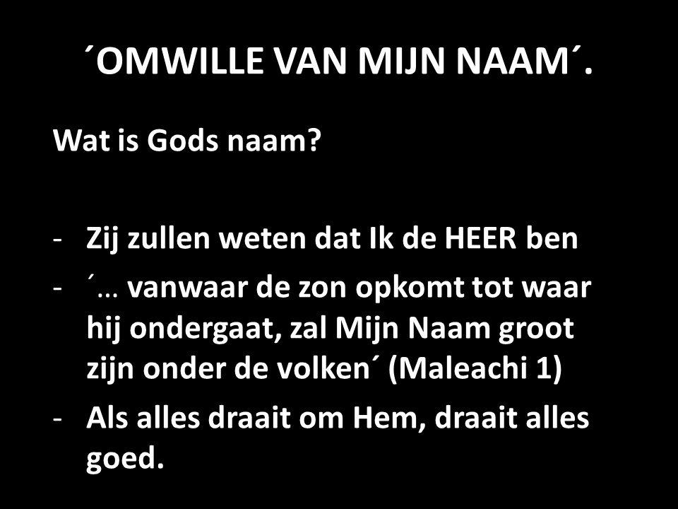 ´OMWILLE VAN MIJN NAAM´. Wat is Gods naam? -Zij zullen weten dat Ik de HEER ben -´… vanwaar de zon opkomt tot waar hij ondergaat, zal Mijn Naam groot