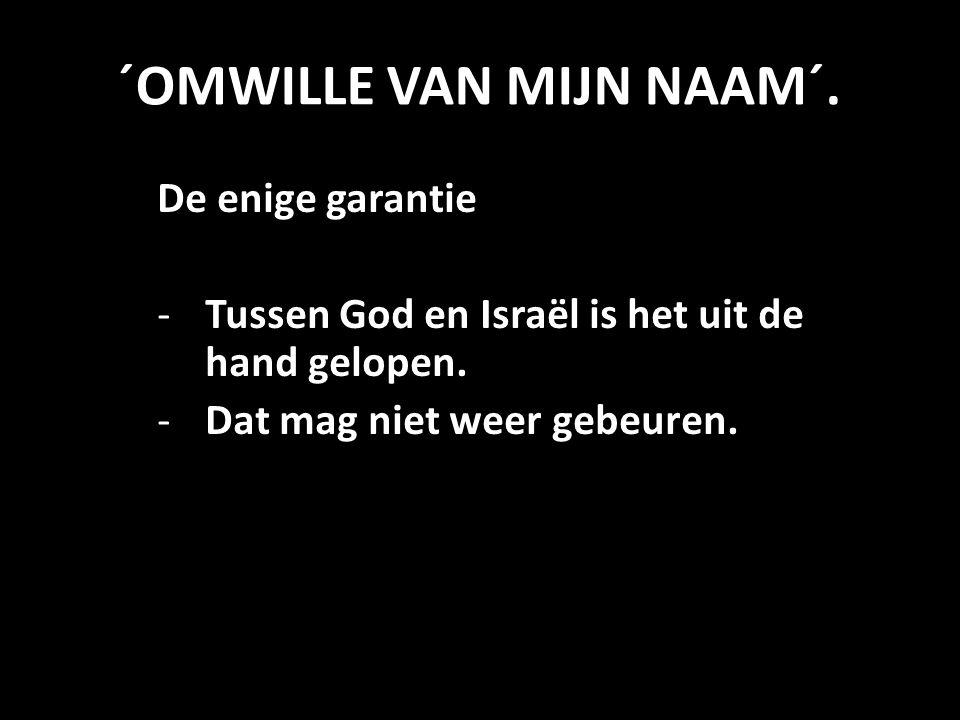 ´OMWILLE VAN MIJN NAAM´. De enige garantie -Tussen God en Israël is het uit de hand gelopen. -Dat mag niet weer gebeuren.