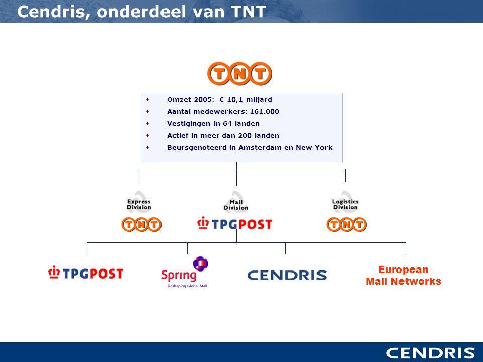 Cendris, onderdeel van TNT European Mail Networks •Omzet 2005: € 10,1 miljard •Aantal medewerkers: 161.000 •Vestigingen in 64 landen •Actief in meer dan 200 landen •Beursgenoteerd in Amsterdam en New York