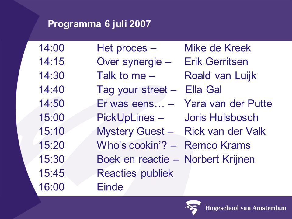 Programma 6 juli 2007 14:00Het proces – Mike de Kreek 14:15Over synergie – Erik Gerritsen 14:30 Talk to me – Roald van Luijk 14:40Tag your street – El