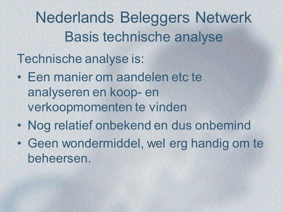 Nederlands Beleggers Netwerk Basis technische analyse Technische analyse is: •Een manier om aandelen etc te analyseren en koop- en verkoopmomenten te vinden •Nog relatief onbekend en dus onbemind •Geen wondermiddel, wel erg handig om te beheersen.