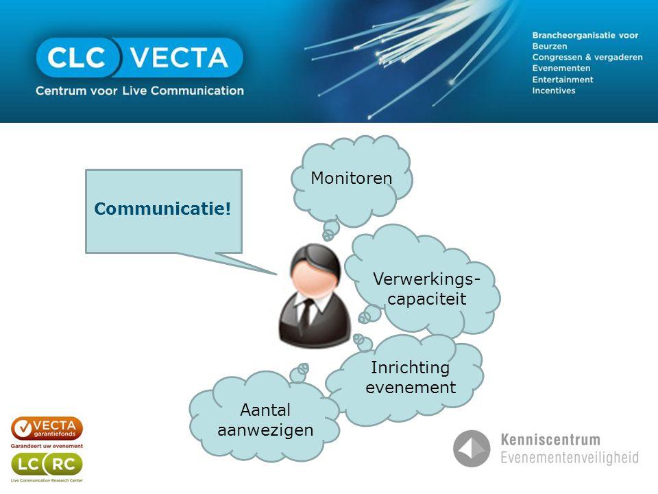 Monitoren Verwerkings- capaciteit Inrichting evenement Communicatie! Aantal aanwezigen