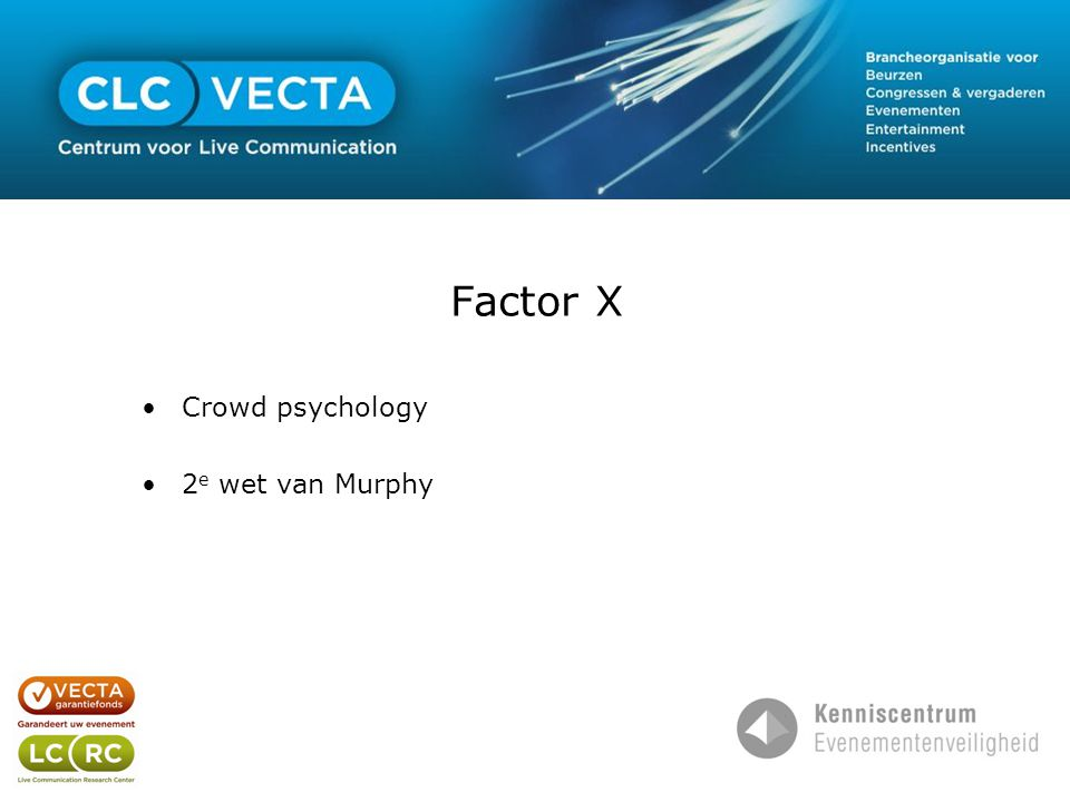 Factor X •Crowd psychology •2 e wet van Murphy