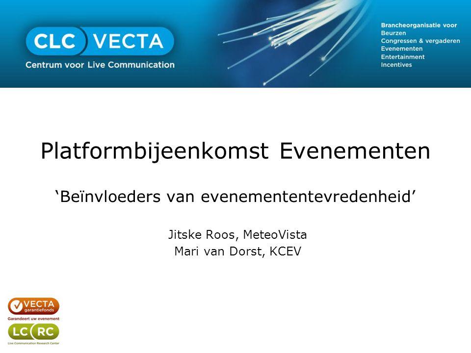 Platformbijeenkomst Evenementen 'Beïnvloeders van evenemententevredenheid' Jitske Roos, MeteoVista Mari van Dorst, KCEV