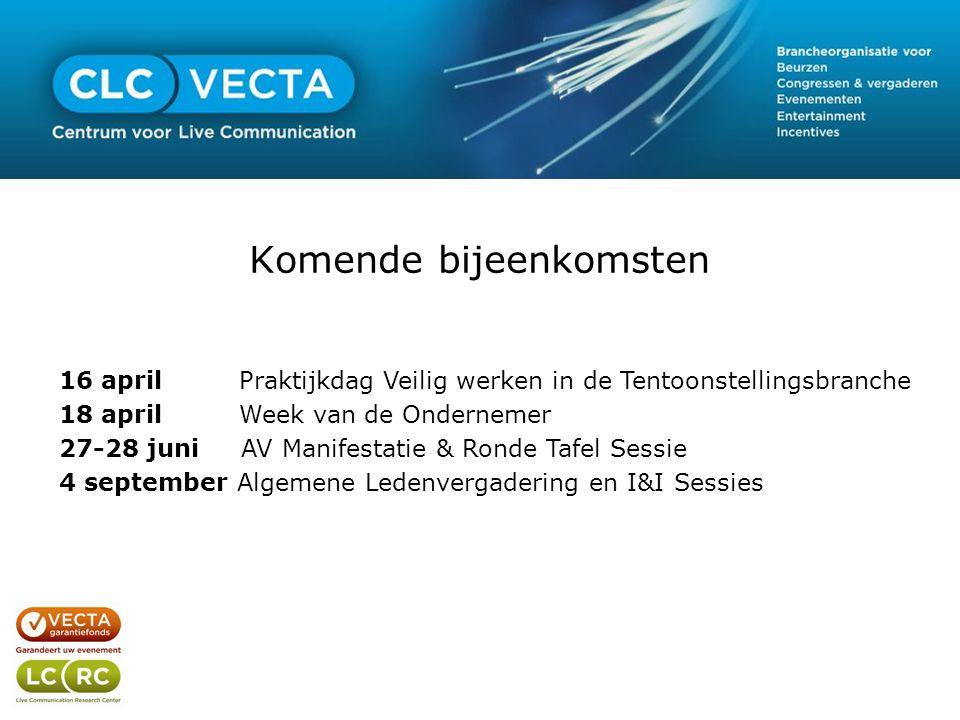 Komende bijeenkomsten 16 april Praktijkdag Veilig werken in de Tentoonstellingsbranche 18 april Week van de Ondernemer 27-28 juni AV Manifestatie & Ro