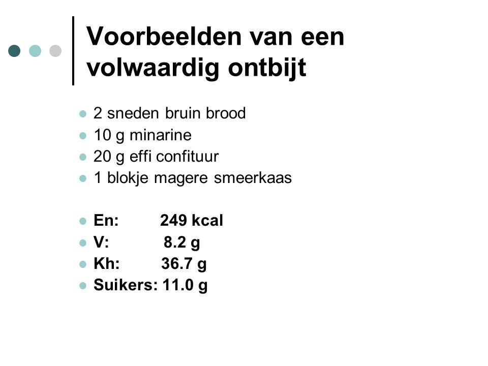 Voorbeelden van een volwaardig ontbijt  2 sneden bruin brood  10 g minarine  20 g effi confituur  1 blokje magere smeerkaas  En: 249 kcal  V: 8.