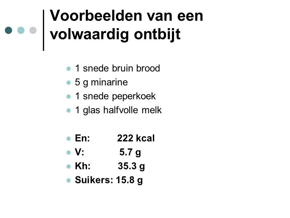 Voorbeelden van een volwaardig ontbijt  1 snede bruin brood  5 g minarine  1 snede peperkoek  1 glas halfvolle melk  En: 222 kcal  V: 5.7 g  Kh