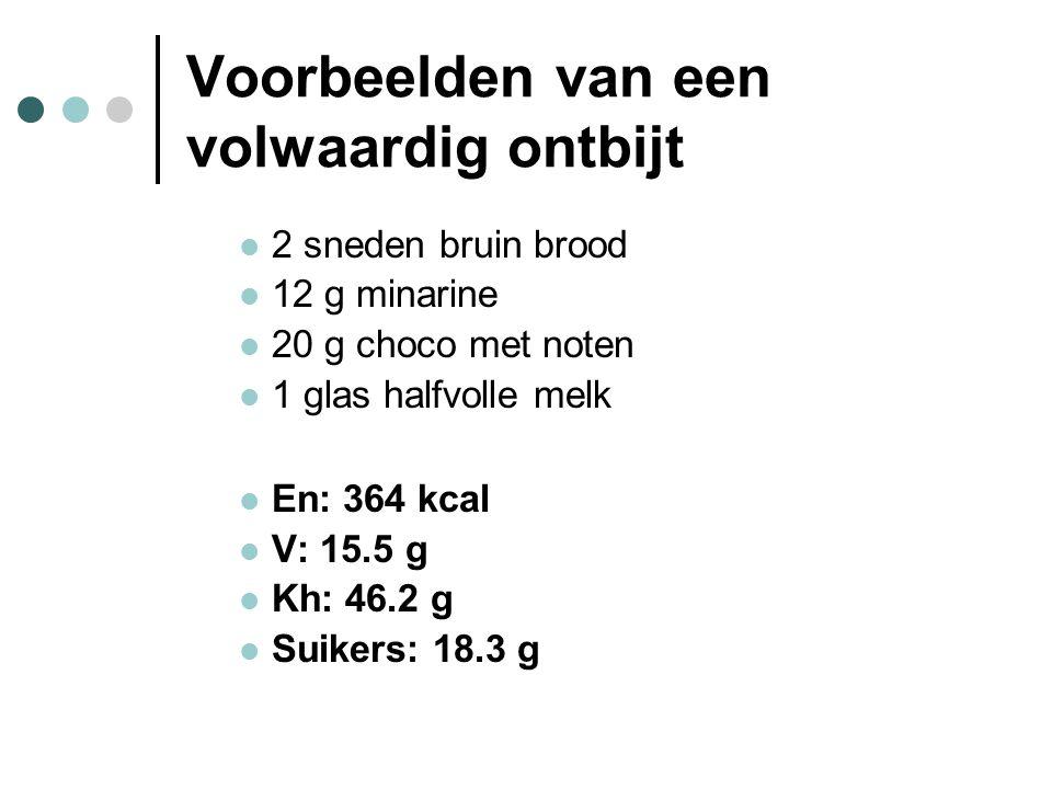 Voorbeelden van een volwaardig ontbijt  2 sneden bruin brood  12 g minarine  20 g choco met noten  1 glas halfvolle melk  En: 364 kcal  V: 15.5
