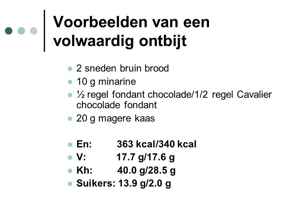 Voorbeelden van een volwaardig ontbijt  2 sneden bruin brood  10 g minarine  ½ regel fondant chocolade/1/2 regel Cavalier chocolade fondant  20 g