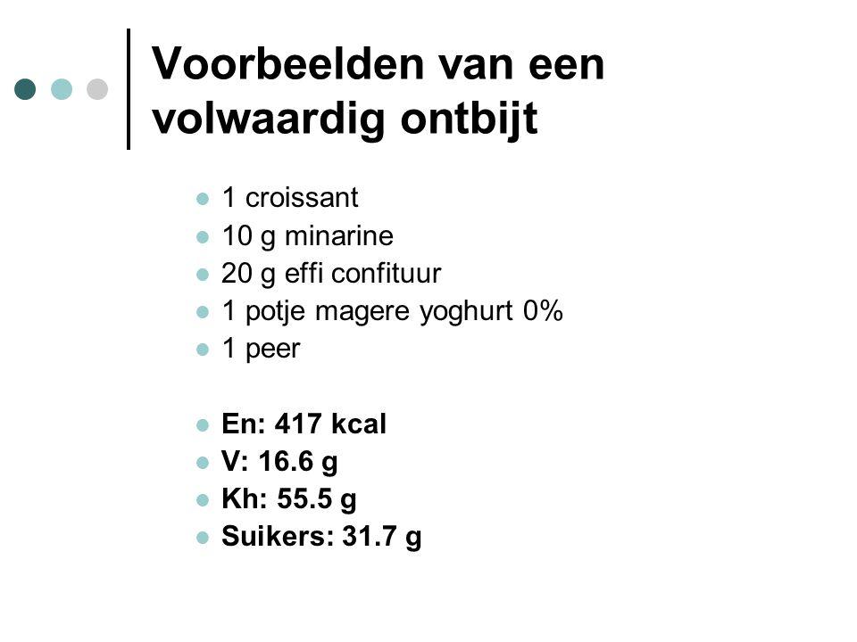 Voorbeelden van een volwaardig ontbijt  1 croissant  10 g minarine  20 g effi confituur  1 potje magere yoghurt 0%  1 peer  En: 417 kcal  V: 16