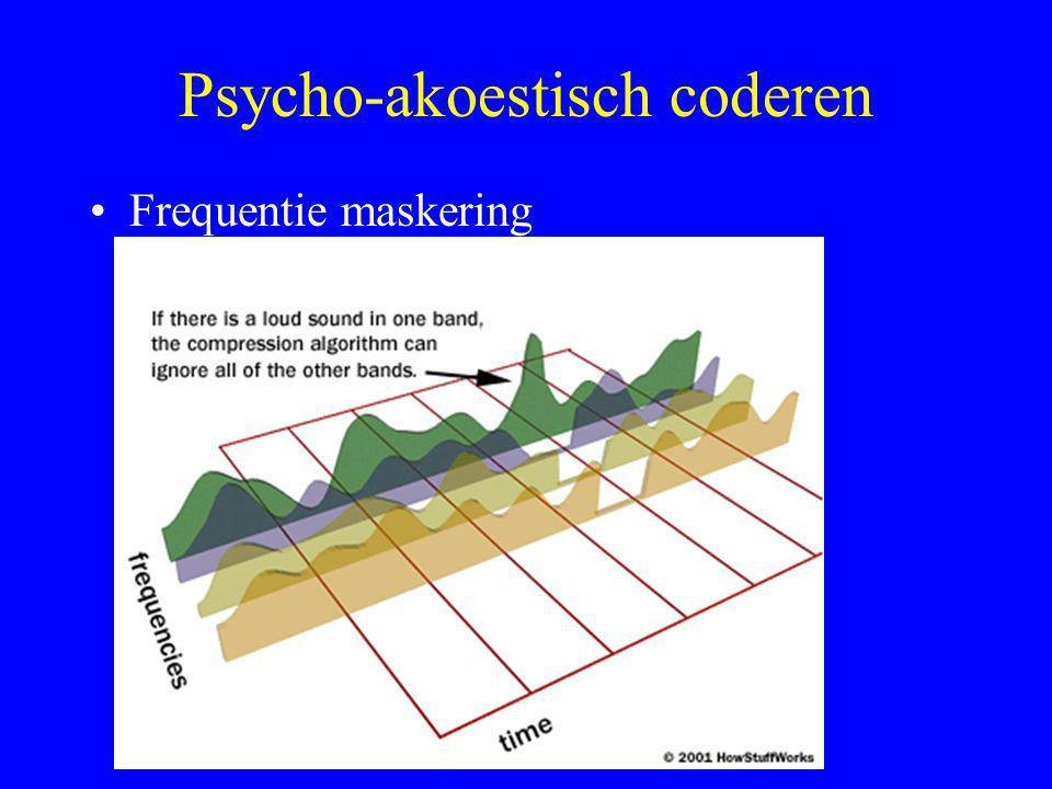 Psycho-akoestisch coderen •Frequentie maskering –Alle frequenties met lage amplitude in de buurt van een frequentie met grote amplitude hoor je niet