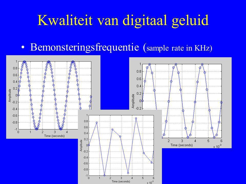 Kwaliteit van digitaal geluid •Bemonsteringsfrequentie ( sample rate in KHz)