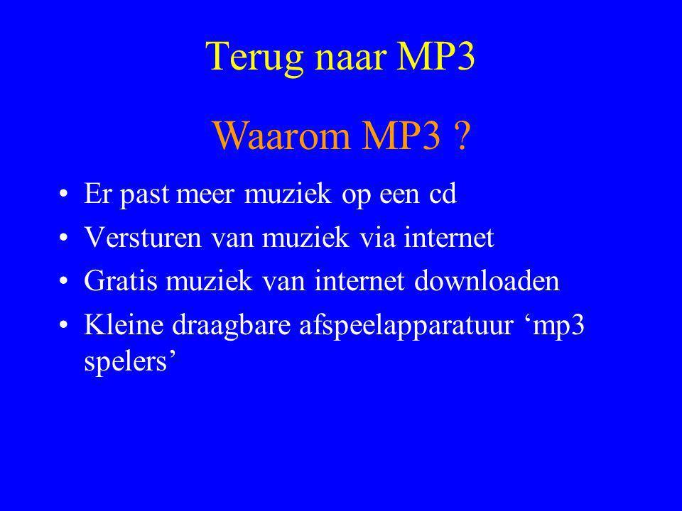 Terug naar MP3 •Er past meer muziek op een cd •Versturen van muziek via internet •Gratis muziek van internet downloaden •Kleine draagbare afspeelapparatuur 'mp3 spelers' Waarom MP3 ?