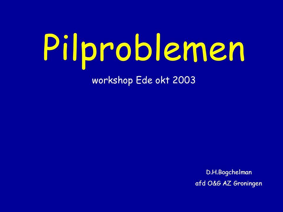 Pilproblemen workshop Ede okt 2003 D.H.Bogchelman afd O&G AZ Groningen