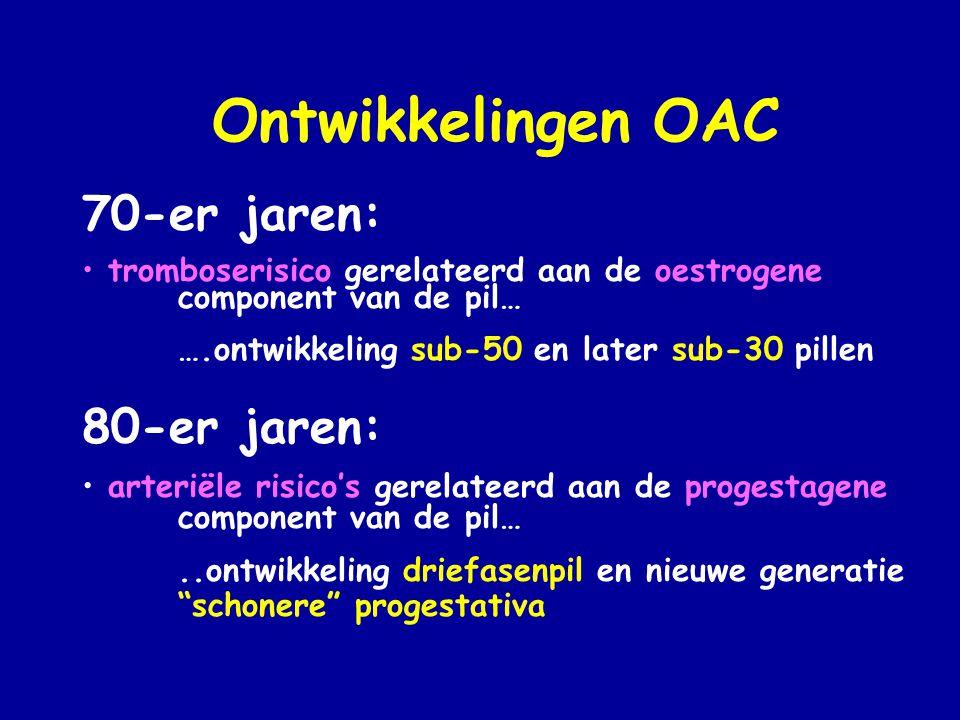 Ontwikkelingen OAC 70-er jaren: • tromboserisico gerelateerd aan de oestrogene component van de pil… ….ontwikkeling sub-50 en later sub-30 pillen 80-er jaren: • arteriële risico's gerelateerd aan de progestagene component van de pil…..ontwikkeling driefasenpil en nieuwe generatie schonere progestativa