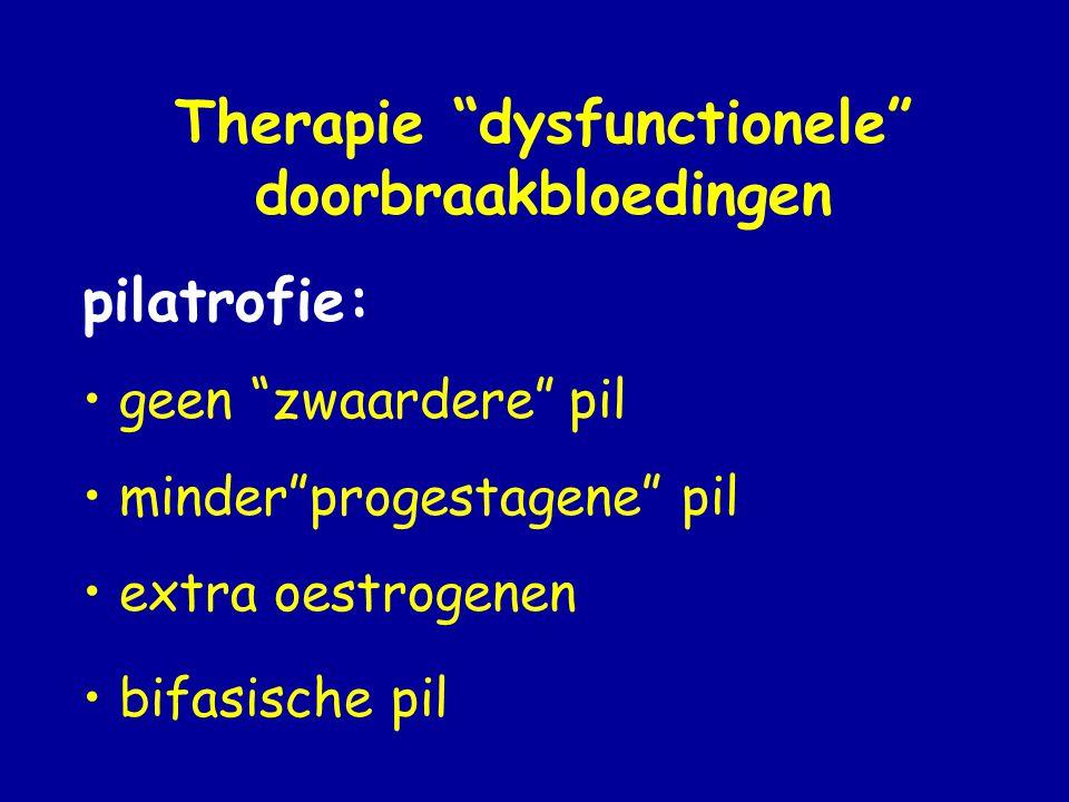 Therapie dysfunctionele doorbraakbloedingen pilatrofie: • geen zwaardere pil • minder progestagene pil • extra oestrogenen • bifasische pil