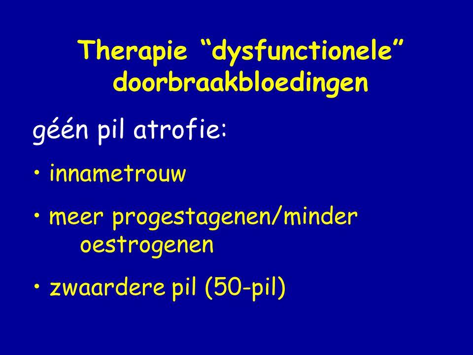 Therapie dysfunctionele doorbraakbloedingen géén pil atrofie: • innametrouw • meer progestagenen/minder oestrogenen • zwaardere pil (50-pil)