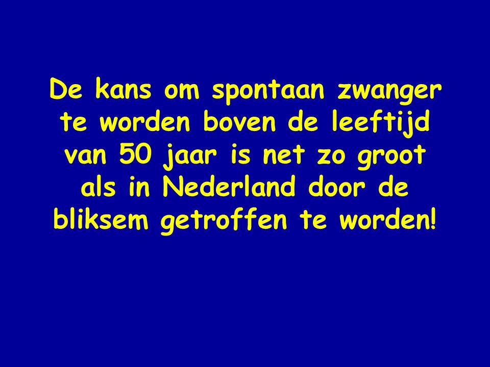 De kans om spontaan zwanger te worden boven de leeftijd van 50 jaar is net zo groot als in Nederland door de bliksem getroffen te worden!
