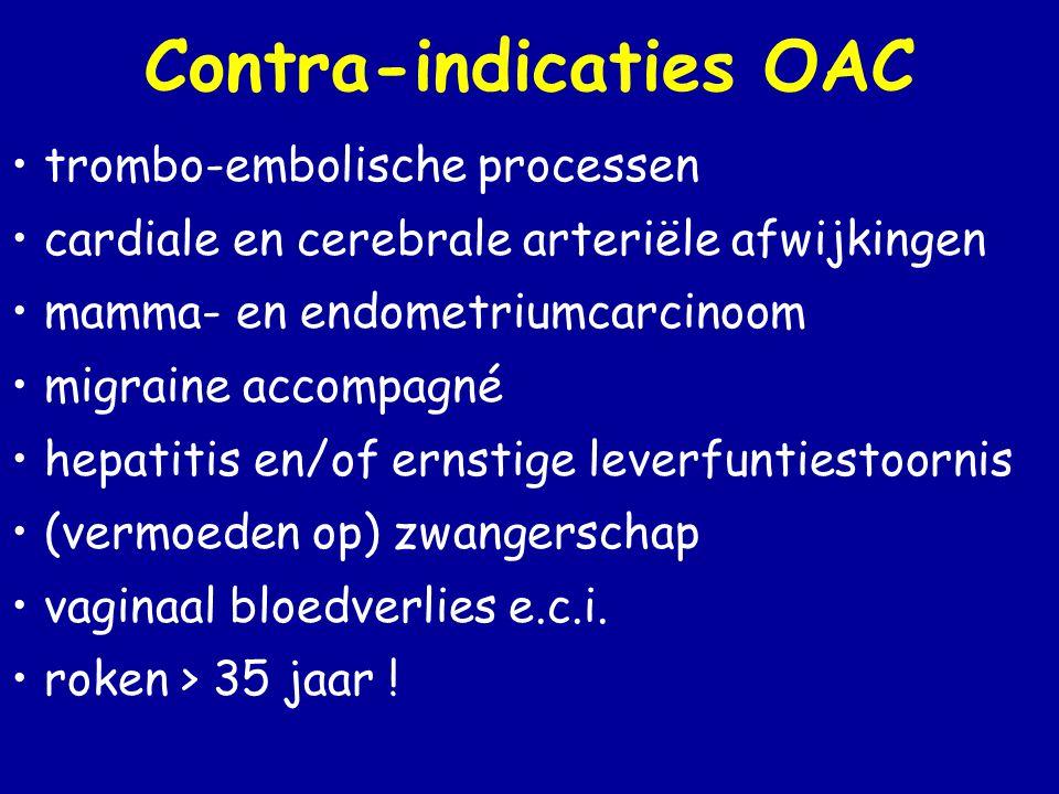 Contra-indicaties OAC • trombo-embolische processen • cardiale en cerebrale arteriële afwijkingen • mamma- en endometriumcarcinoom • migraine accompagné • hepatitis en/of ernstige leverfuntiestoornis • (vermoeden op) zwangerschap • vaginaal bloedverlies e.c.i.
