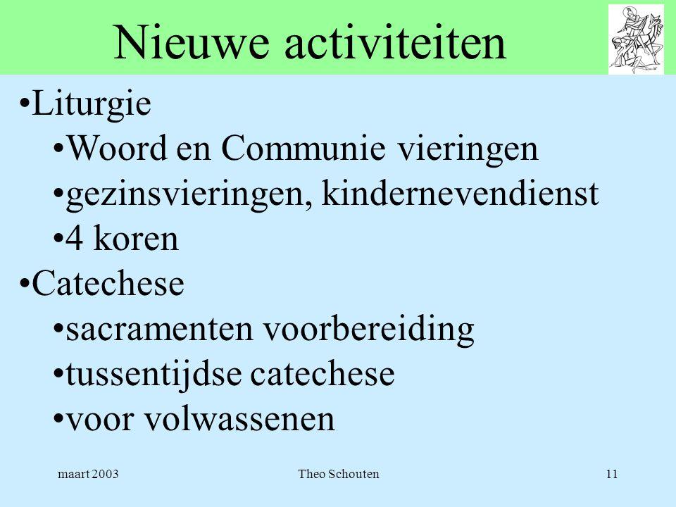 maart 2003Theo Schouten11 Nieuwe activiteiten •Liturgie •Woord en Communie vieringen •gezinsvieringen, kindernevendienst •4 koren •Catechese •sacramen