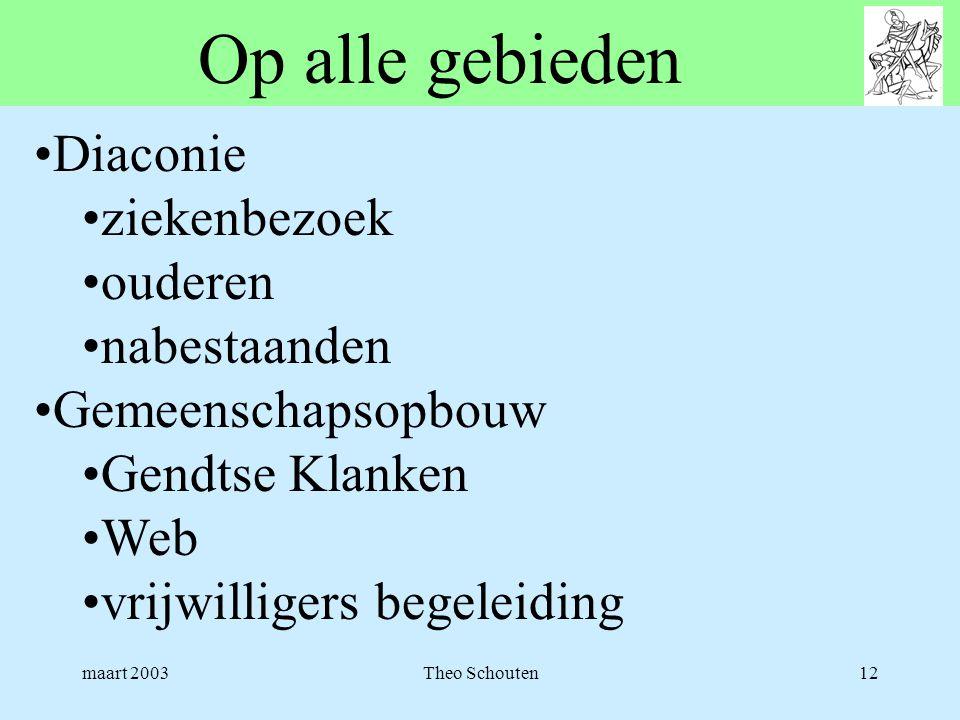 maart 2003Theo Schouten12 Op alle gebieden •Diaconie •ziekenbezoek •ouderen •nabestaanden •Gemeenschapsopbouw •Gendtse Klanken •Web •vrijwilligers beg