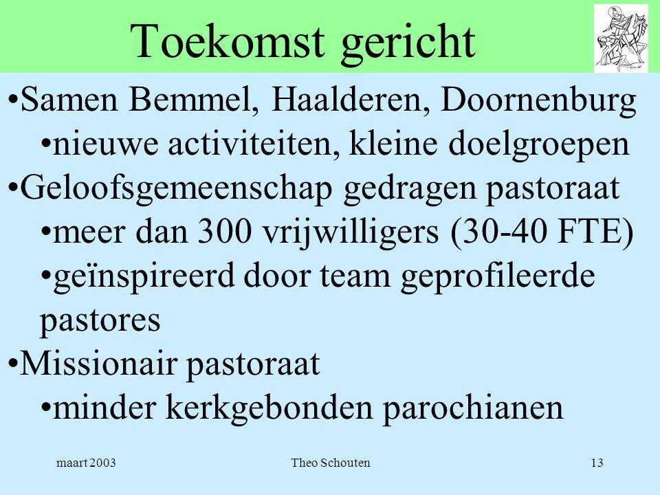 maart 2003Theo Schouten13 Toekomst gericht •Samen Bemmel, Haalderen, Doornenburg •nieuwe activiteiten, kleine doelgroepen •Geloofsgemeenschap gedragen