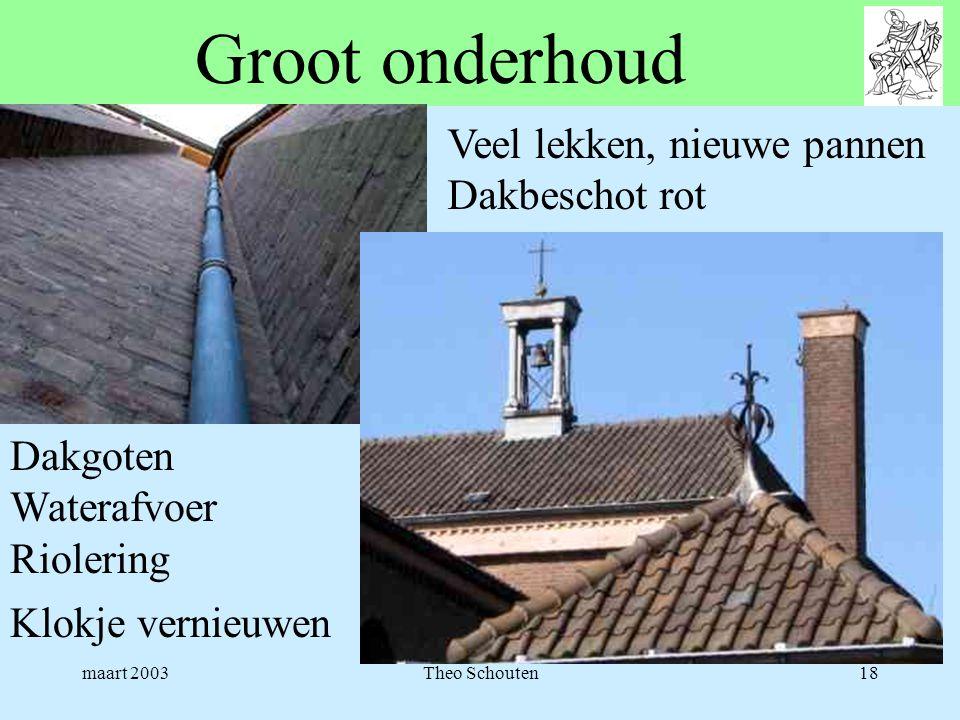 maart 2003Theo Schouten18 Groot onderhoud Veel lekken, nieuwe pannen Dakbeschot rot Dakgoten Waterafvoer Riolering Klokje vernieuwen