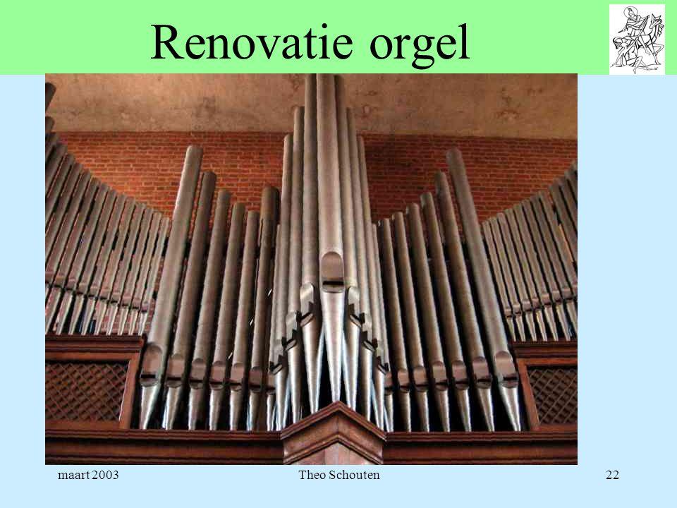 maart 2003Theo Schouten22 Renovatie orgel
