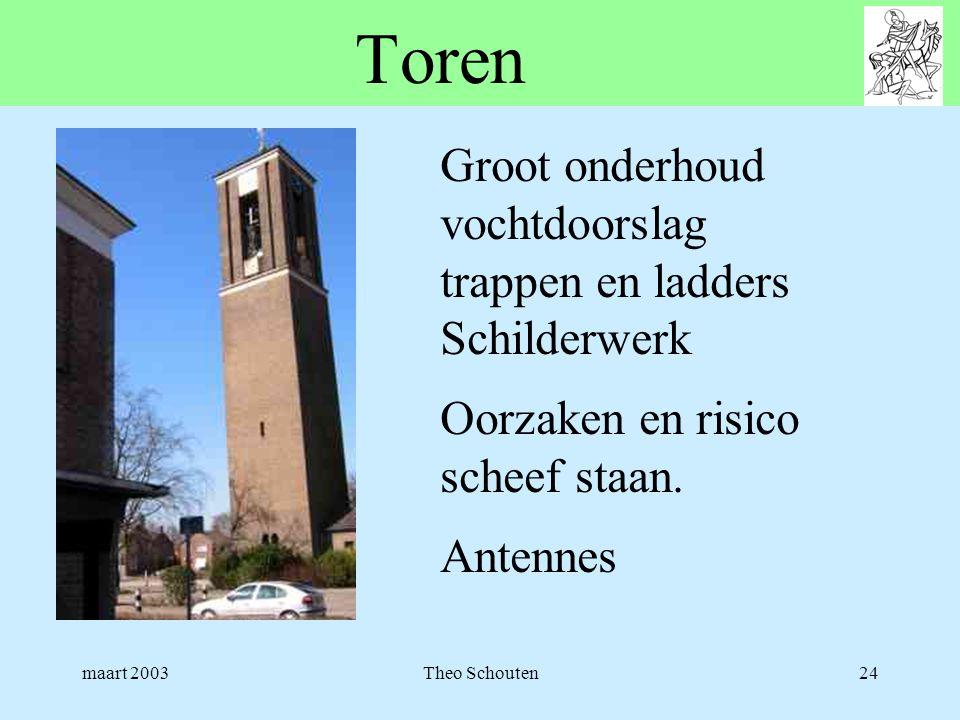 maart 2003Theo Schouten24 Toren Groot onderhoud vochtdoorslag trappen en ladders Schilderwerk Oorzaken en risico scheef staan. Antennes
