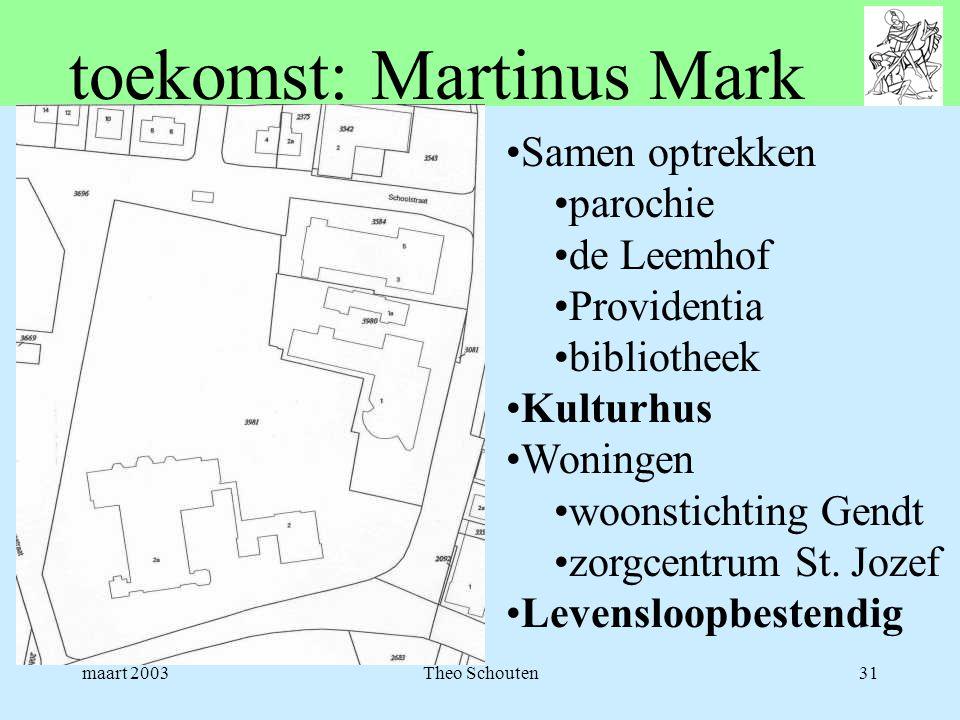maart 2003Theo Schouten31 toekomst: Martinus Mark •Samen optrekken •parochie •de Leemhof •Providentia •bibliotheek •Kulturhus •Woningen •woonstichting