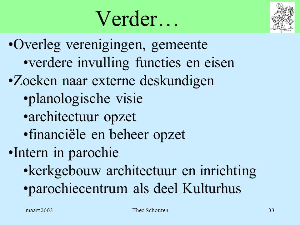 maart 2003Theo Schouten33 Verder… •Overleg verenigingen, gemeente •verdere invulling functies en eisen •Zoeken naar externe deskundigen •planologische