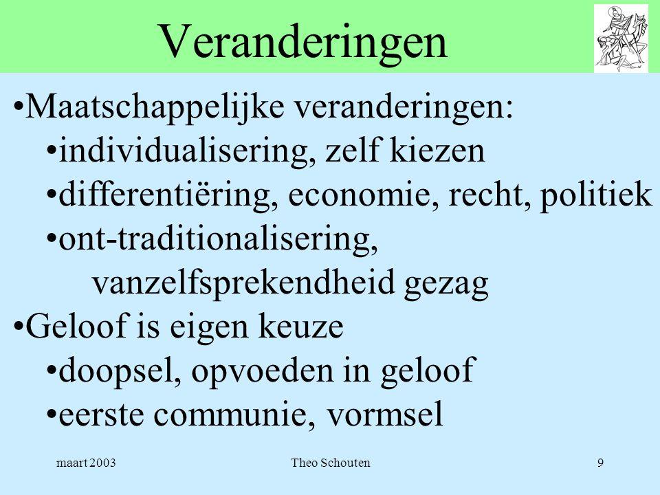 maart 2003Theo Schouten9 Veranderingen •Maatschappelijke veranderingen: •individualisering, zelf kiezen •differentiëring, economie, recht, politiek •o