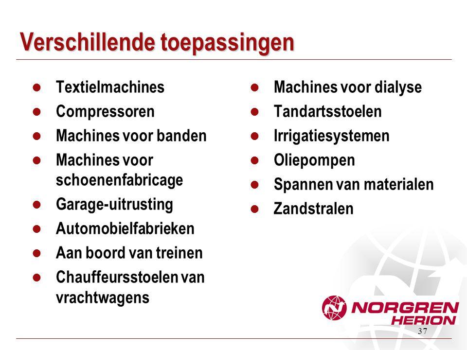 37 Verschillende toepassingen  Textielmachines  Compressoren  Machines voor banden  Machines voor schoenenfabricage  Garage-uitrusting  Automobi