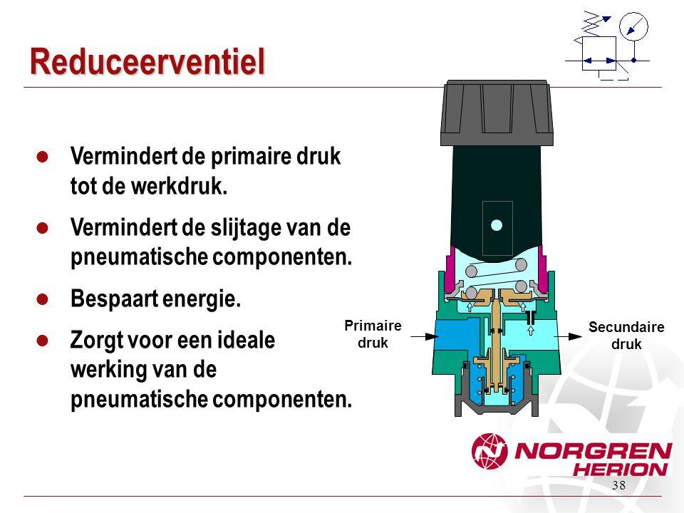 38 Reduceerventiel  Vermindert de primaire druk tot de werkdruk.  Vermindert de slijtage van de pneumatische componenten.  Bespaart energie.  Zorg