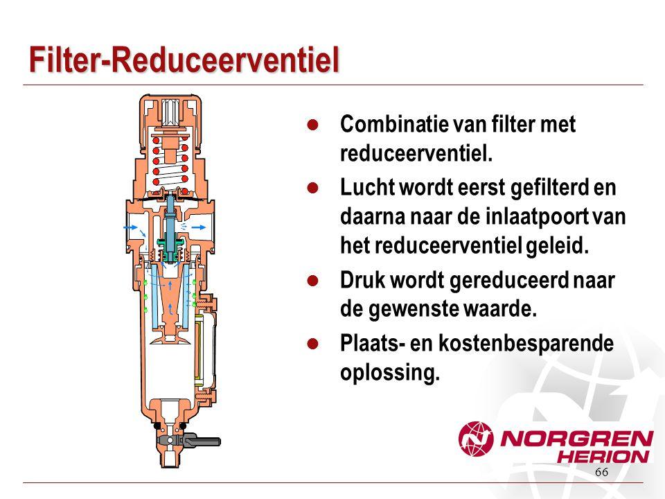 66 Filter-Reduceerventiel  Combinatie van filter met reduceerventiel.  Lucht wordt eerst gefilterd en daarna naar de inlaatpoort van het reduceerven