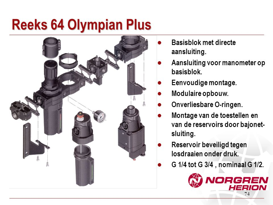 74 Reeks 64 Olympian Plus  Basisblok met directe aansluiting.  Aansluiting voor manometer op basisblok.  Eenvoudige montage.  Modulaire opbouw. 