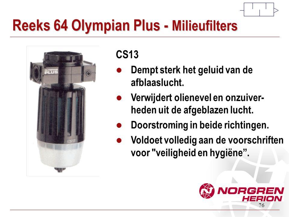 76 Reeks 64 Olympian Plus - Milieufilters CS13  Dempt sterk het geluid van de afblaaslucht.  Verwijdert olienevel en onzuiver- heden uit de afgeblaz