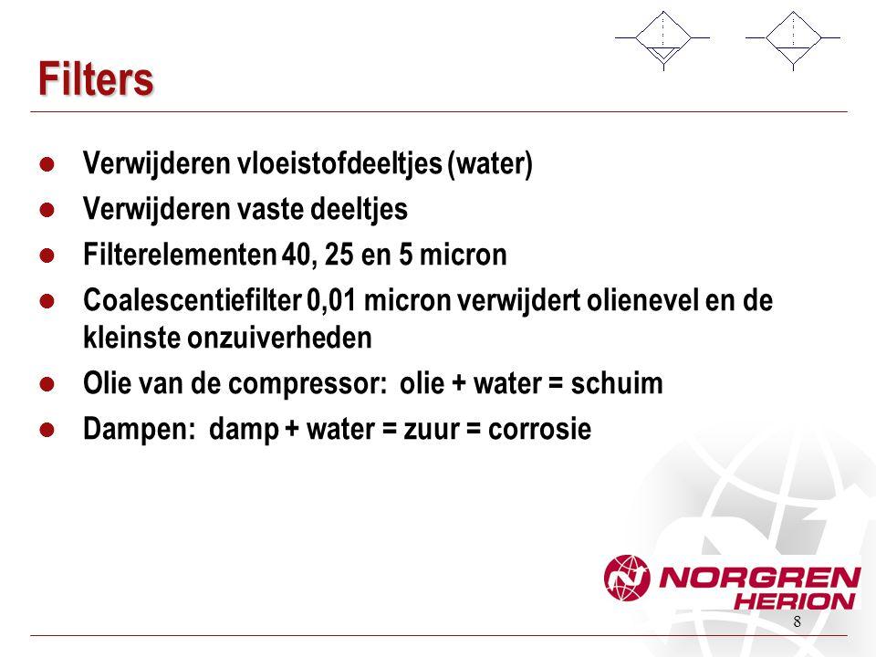 8 Filters  Verwijderen vloeistofdeeltjes (water)  Verwijderen vaste deeltjes  Filterelementen 40, 25 en 5 micron  Coalescentiefilter 0,01 micron v